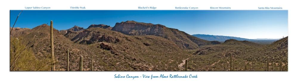 Sabino Canyon View From Above Rattlesnake Creek_Panorama2 framed blog