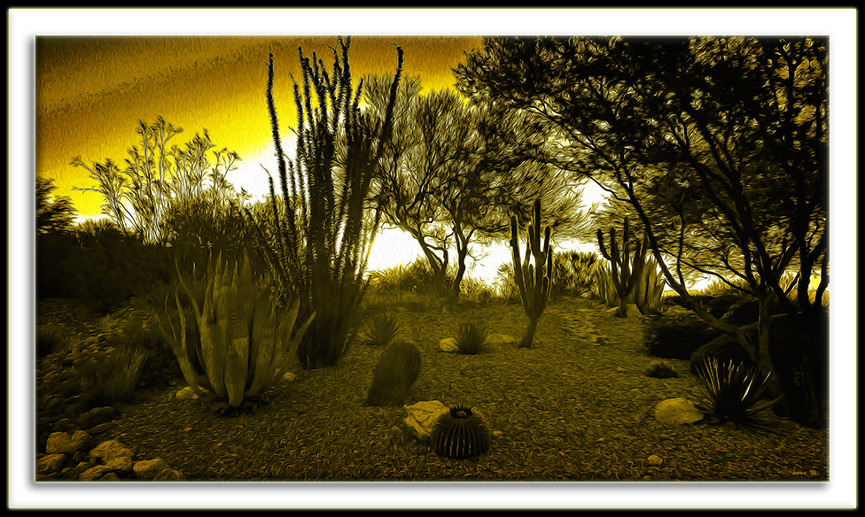 Morning Walk- yellow sky art blog
