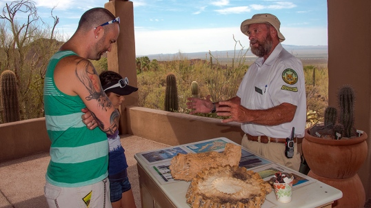 Docent Paul with David and Kate at the Arizona-Sonora Desert Museum