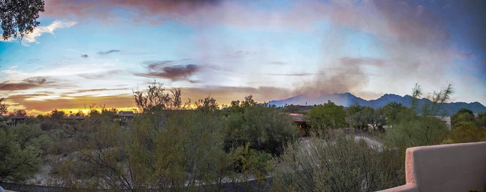 Sunset Panorama with Smoke Cloud Adding Color