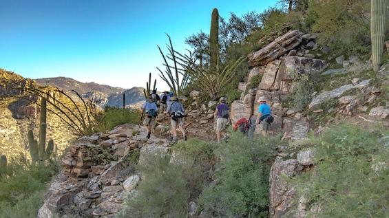 Hikers On Phoneline Trail