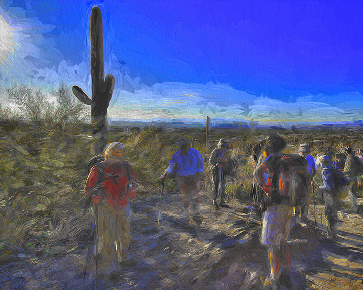 SCVN Pima Canyon Hike -- 01-06012_20120106_1192 Hikers In Morning Sun-II-Art-3-blog-2