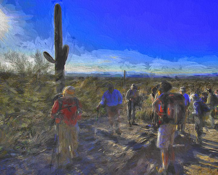 SCVN Pima Canyon Hike -- 01-06012_20120106_1192 Hikers In Morning Sun-II-Art-3-blog-2