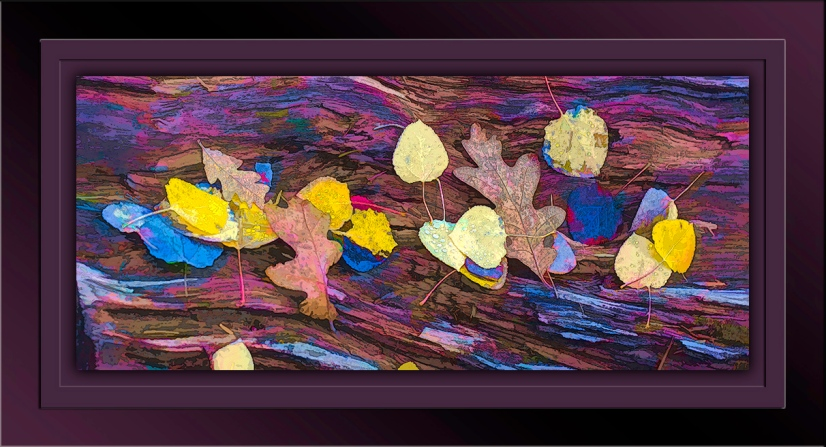 Fall Leaves on Log Painting-blog