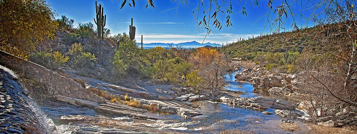 Sabino Dam Fall Colors Panorama-blog
