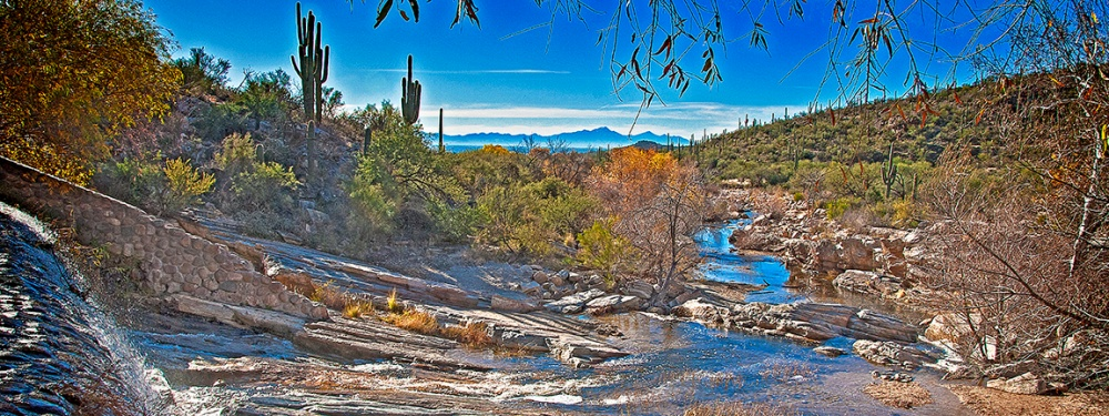 Sabino Dam Fall Colors Panorama-blog