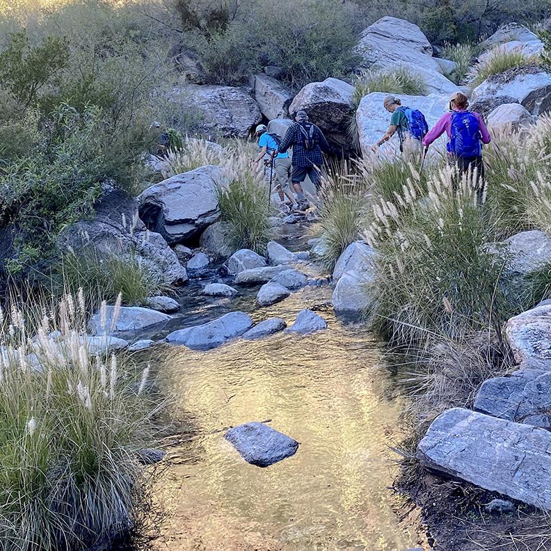 Hiking Over Stream-72
