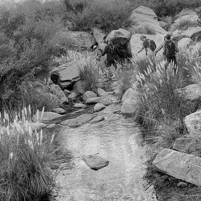 Hiking Over Stream-B&W-72