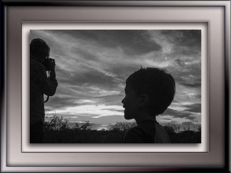 Silhouette granddad and jaxon-B&W-72